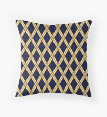 Navy Blue Dress with Gold Lace Throw Pillow