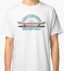 Skateboarding vintage emblem with red skateboard and inscriptions Classic T-Shirt