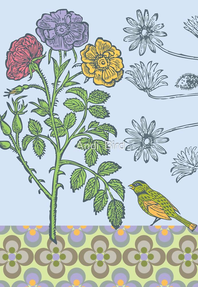 Ornamental Roses & Bird - card by Andi Bird