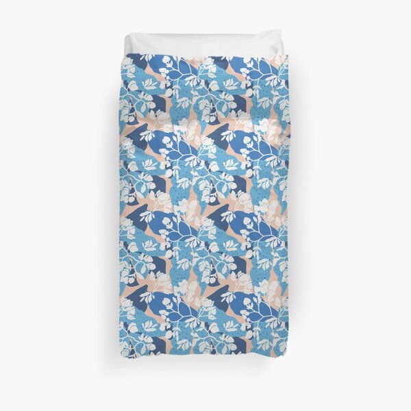 Blue layered floral on a taupe base Duvet Cover
