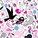 Seamless multi-colored pattern of enamored birds by Tanor
