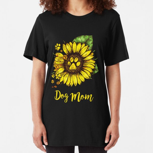 DOG MOM SUNFLOWER Slim Fit T-Shirt