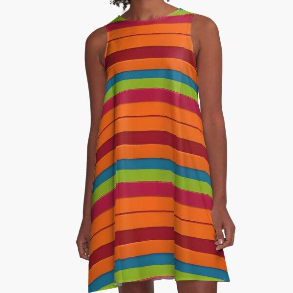 Colourful stripes A-Line Dress