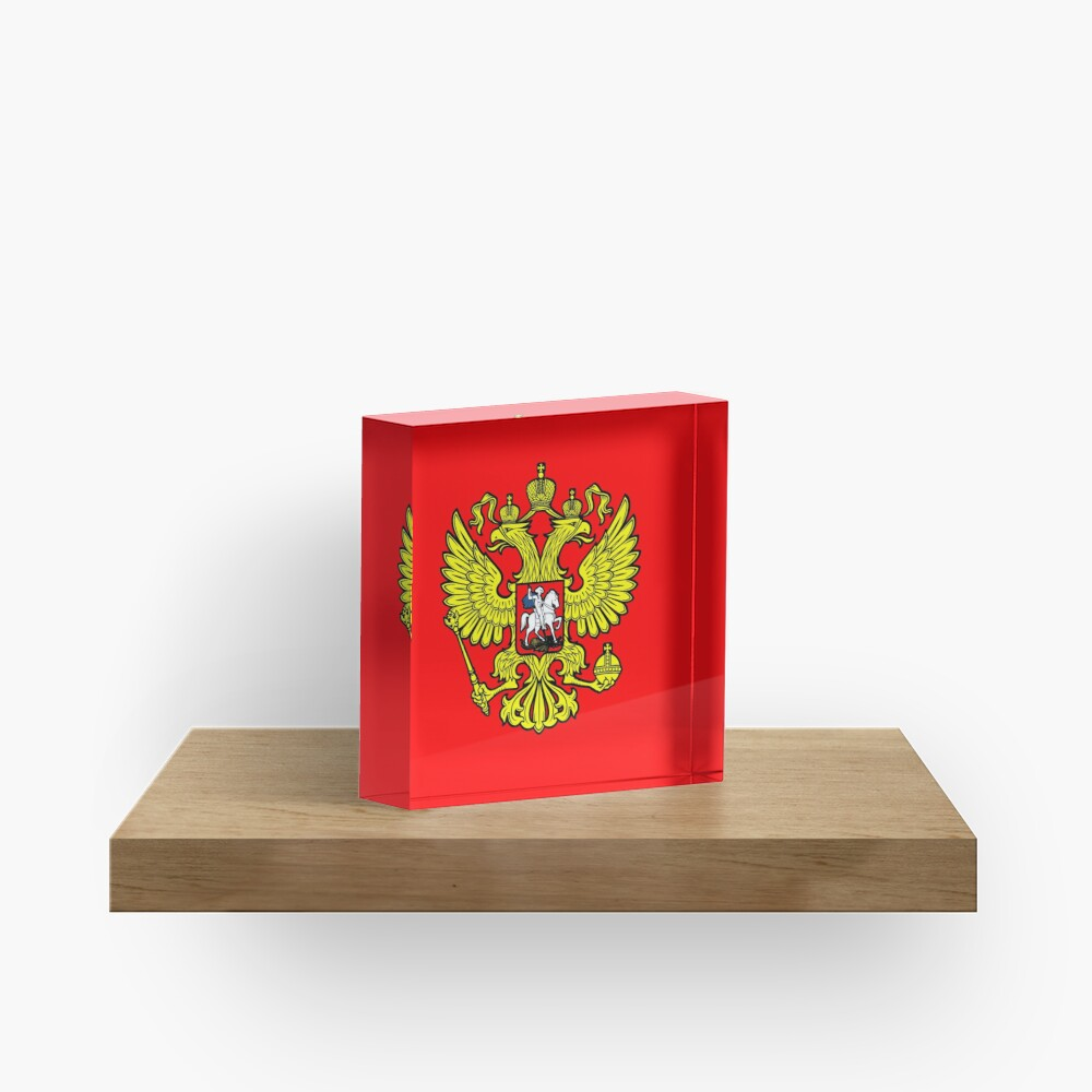 RUSSIA. RUSSIAN. Coat of Arms of the Russian Federation, ON RED. Acrylic Block