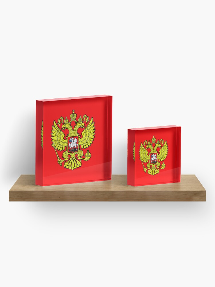 Alternate view of RUSSIA. RUSSIAN. Coat of Arms of the Russian Federation, ON RED. Acrylic Block
