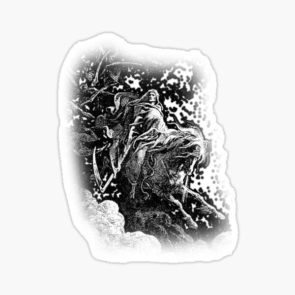 DEATH. Death on the Pale Horse. Revelation, Revenge, Gustave Dore. 1865. Revelations, Seven Seals. Sticker