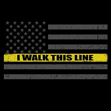 I Walk This Line 911 Dispatcher Thin Gold Line Flag by bluelinegear