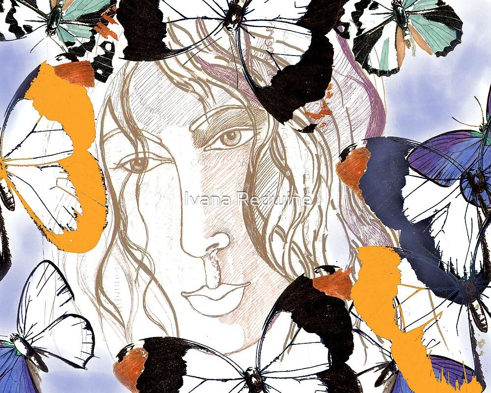 Serene Face Framed by Butterflies  by Ivana Redwine