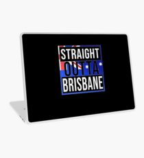 Straight Outta Brisbane Retro Style - Gift For An Australian From Brisbane in Queensland , Design Has The Australia Flag Embedded Laptop Skin
