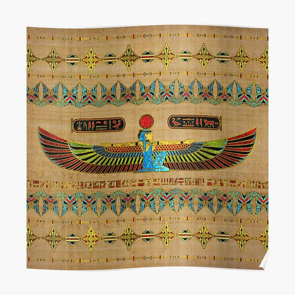 Egyptian Goddess Isis Ornament on papyrus  Poster
