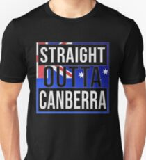 Straight Outta Canberra Retro Style - Gift For An Australian From Canberra in Australian Capital Territory , Design Has The Australia Flag Embedded Unisex T-Shirt