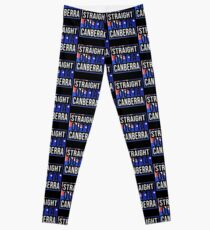Straight Outta Canberra Retro Style - Gift For An Australian From Canberra in Australian Capital Territory , Design Has The Australia Flag Embedded Leggings