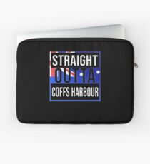 Straight Outta Coffs Harbour Retro Style - Gift For An Australian From Coffs Harbour in New South Wales , Design Has The Australia Flag Embedded Laptop Sleeve