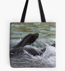 Splashing Sealions!  Tote Bag