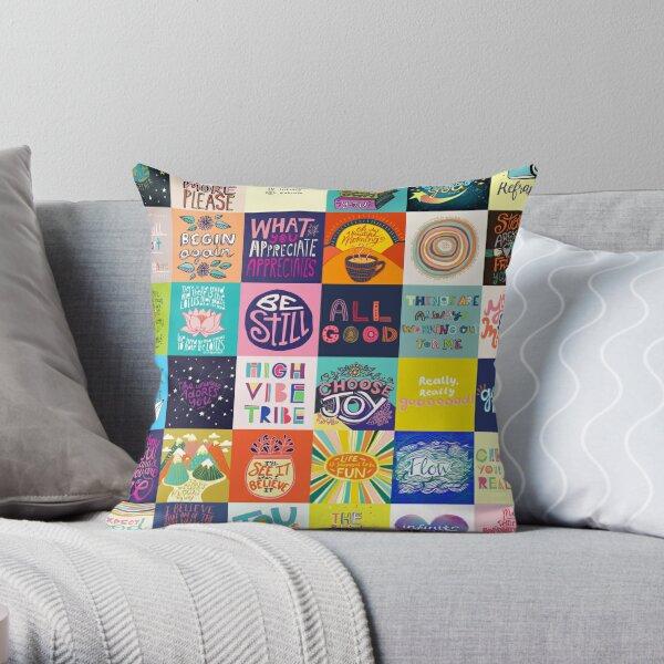 Positivity Patchwork Throw Pillow