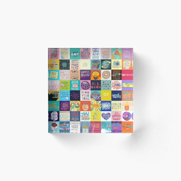 Positivity Patchwork Acrylic Block