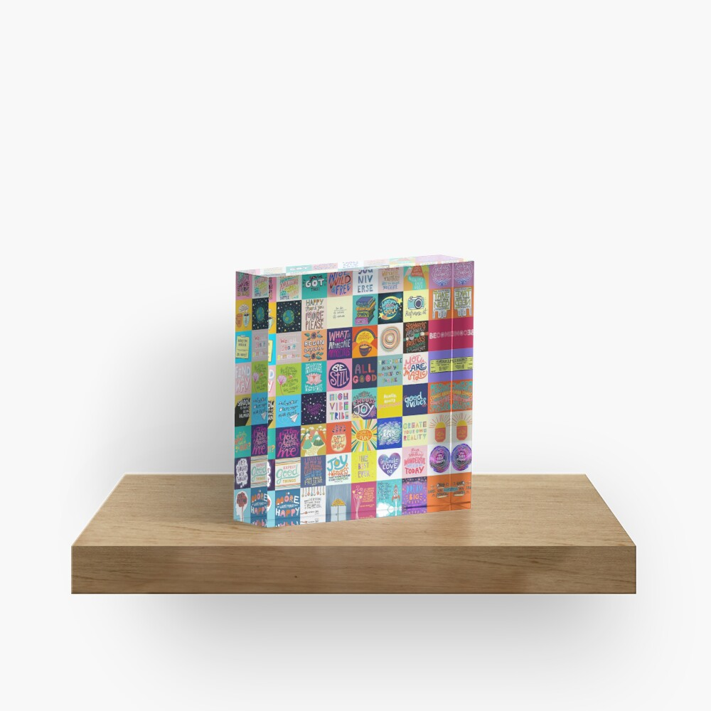 Positivity Patchwork Acrylic Block