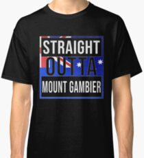 Straight Outta Mount Gambier Retro Style - Gift For An Australian From Mount Gambier in South Australia , Design Has The Australia Flag Embedded Classic T-Shirt