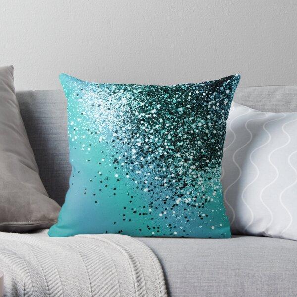 Aqua Blue OCEAN Glitter #1 #shiny #decor #art  Throw Pillow