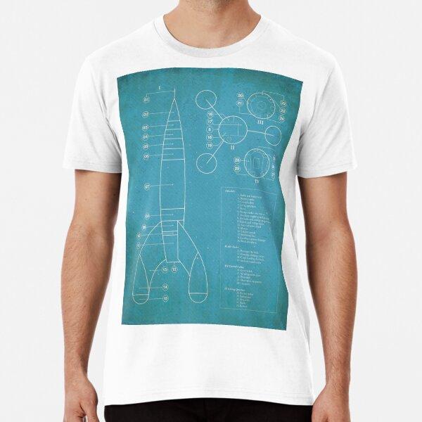 Tintin Moon Rocket Blue Print Camiseta premium