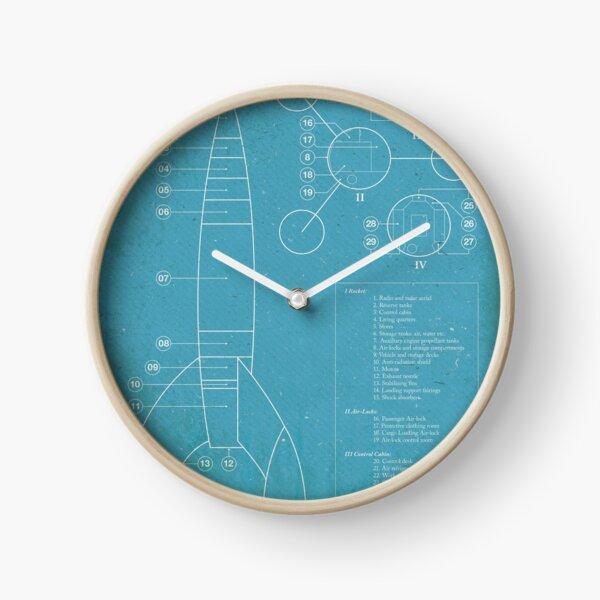 Tintin Moon Rocket Imprimé Bleu Horloge