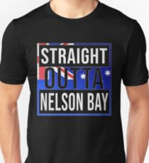 Straight Outta Nelson Bay Retro Style - Gift For An Australian From Nelson Bay in New South Wales , Design Has The Australia Flag Embedded Unisex T-Shirt