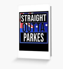 Straight Outta Parkes Retro Style - Gift For An Australian From Parkes in New South Wales , Design Has The Australia Flag Embedded Greeting Card
