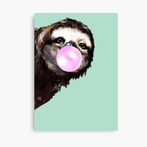 Playful Sneaky Sloth with Bubble Gum Canvas Print