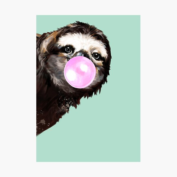 Playful Sneaky Sloth with Bubble Gum Photographic Print