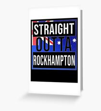 Straight Outta Rockhampton Retro Style - Gift For An Australian From Rockhampton in Queensland , Design Has The Australia Flag Embedded Greeting Card