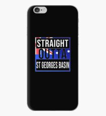 Straight Outta St Georges Basin Retro Style - Gift For An Australian From St Georges Basin in New South Wales , Design Has The Australia Flag Embedded iPhone Case