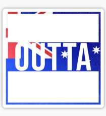 Straight Outta St Georges Basin Retro Style - Gift For An Australian From St Georges Basin in New South Wales , Design Has The Australia Flag Embedded Sticker