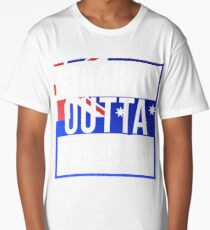 Straight Outta St Georges Basin Retro Style - Gift For An Australian From St Georges Basin in New South Wales , Design Has The Australia Flag Embedded Long T-Shirt