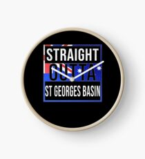 Straight Outta St Georges Basin Retro Style - Gift For An Australian From St Georges Basin in New South Wales , Design Has The Australia Flag Embedded Clock