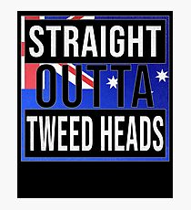 Straight Outta Tweed Heads Retro Style - Gift For An Australian From Tweed Heads in New South Wales , Design Has The Australia Flag Embedded Photographic Print