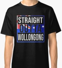 Straight Outta Wollongong Retro Style - Gift For An Australian From Wollongong in New South Wales , Design Has The Australia Flag Embedded Classic T-Shirt