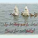 Mute Swan Family - Invitation to Cocktail Party by MotherNature2