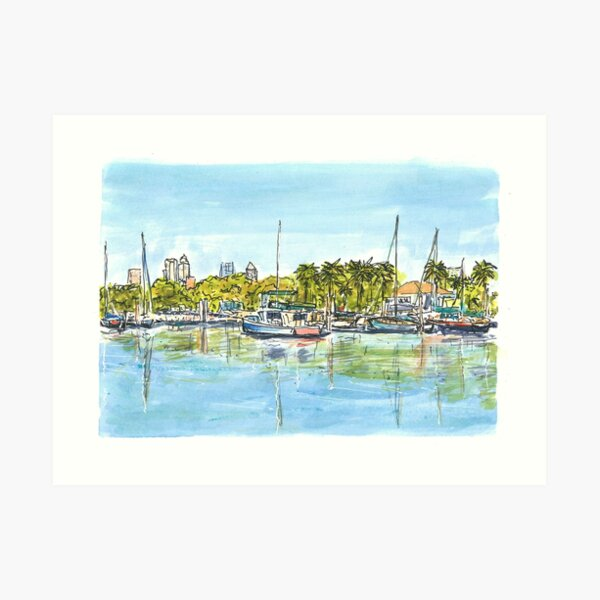 Davis Island Marina with Tampa Skyline Art Print