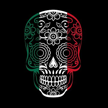 Mexico Flag Color Sugar Skull   by goodspy