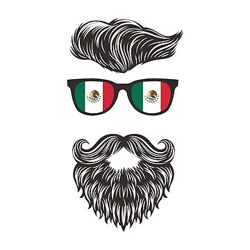 Hipster Mexican With Mexico Flag Sunglasses by goodspy