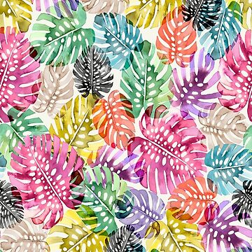 Colorful pattern with watercolor monstera plant by ninoladesign
