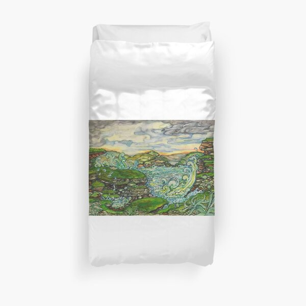landscape, original artwork is hand painted and highly detailed Duvet Cover