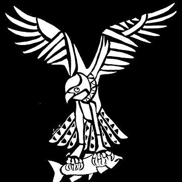Osprey Tribal Design - White  by KitayamaDesigns