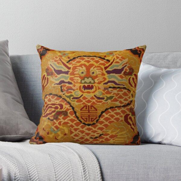 Chinese Dragon Needlepoint Throw Pillow