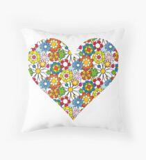 Flower-Heart Throw Pillow