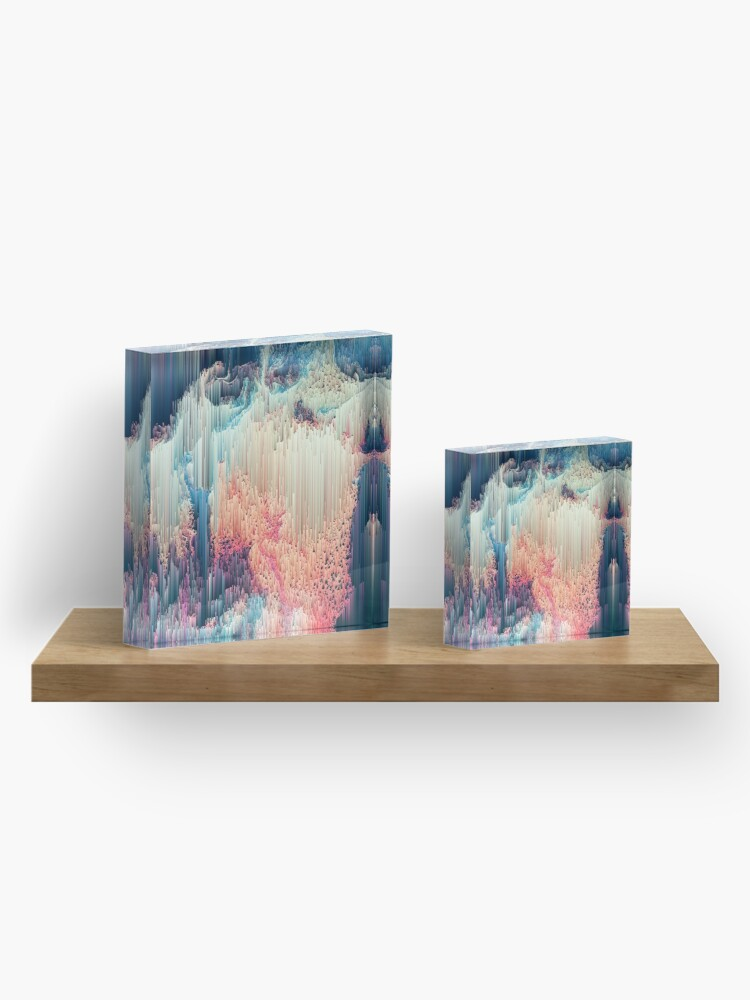 Alternate view of Fairyland - Abstract Glitchy Pixel Art Acrylic Block