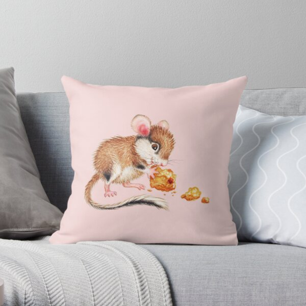Cookie mouse by Maria Tiqwah Throw Pillow