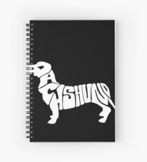 Dachshund silhouette with letters Spiral Notebook
