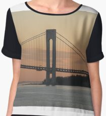 #bridge, #architecture, #water, #city, #usa, #california, #WerrazanoNarrowsBridge, #suspension, #river, #sky, #bay, #landmark Chiffon Top