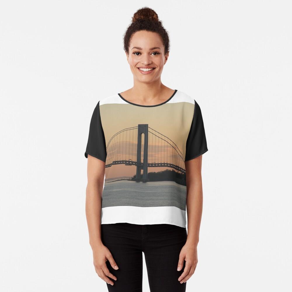 #bridge, #architecture, #water, #city, #usa, #california, #WerrazanoNarrowsBridge, #suspension, #river, #sky, #bay, #landmark Chiffon Top